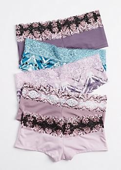 5-Pack Lavender & Blue Lace Boyleg Undie Set