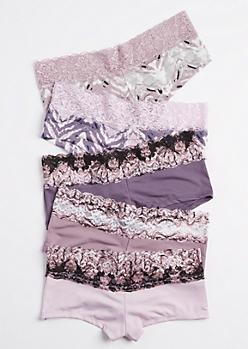 5-Pack Lavender Shadow Striped Boyleg Undie Set