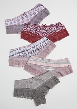 5-Pack Bohemian Lace Leg Bikini Undie Set
