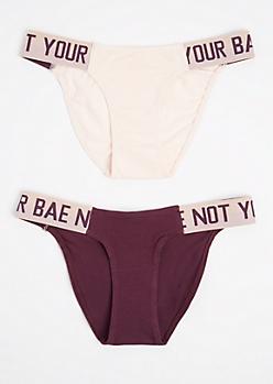 2-Pack Not Your Bae Athletic Band Bikini Undies