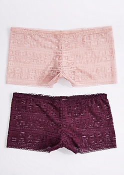 2-Pack Purple & Pink Geo Lace Boyleg Undies