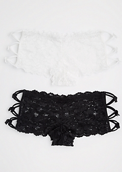 2-Pack Black & White Lace Caged Hipster