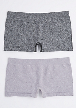 2-Pack Heathered Purple & Gray Boy Short Undies