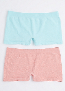 2-Pack Heathered Mint & Pink Boy Short Undies