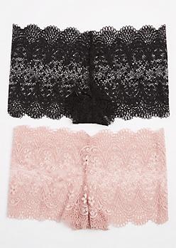 2-Pack Pink & Black Lace Boyleg Undie