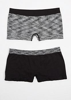 2-Pack Black & Space-Dyed Seamless Boyleg Undies