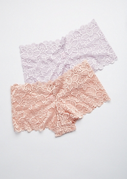 2-Pack Pink & Purple Lace Boyleg Undie Set