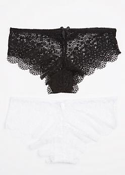 2-Pack Black & White Lace Bikini Undie