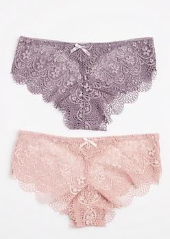 2-Pack Pink & Lavender Lace Bikini Undie