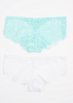 2-Pack Light Blue & White Lace Bikini Undie