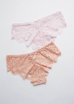 2-Pack Peach & Pink Sheer Lace Bikini Undie Set