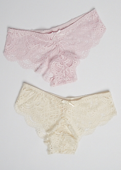2-Pack White & Pink Sheer Lace Bikini Undie Set