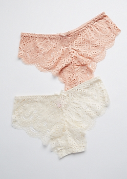 2-Pack Peach & Ivory Sheer Lace Bikini Undie Set