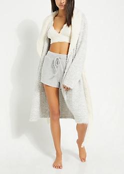 Gray Eyelash Knit Robe