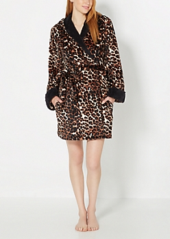 Plush Leopard Hooded Robe
