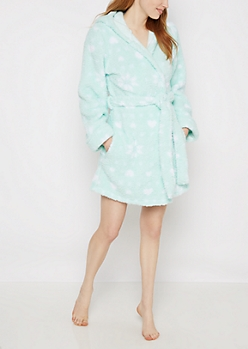 Mint Snowflake & Hearts Plush Robe