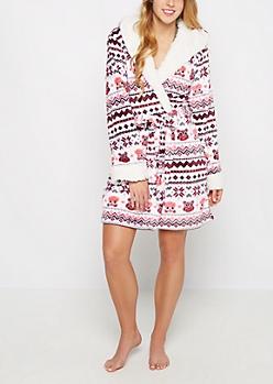 Owl Fair Isle Hooded Plush Robe