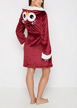 Owl Hooded Plush Robe