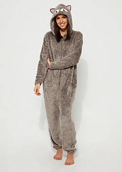 Fox Face Plush Hooded Onesie