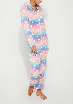 Multi Star Plush Hooded Onesie
