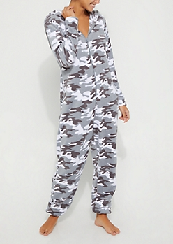 Gray Camo Plush Hooded Onesie