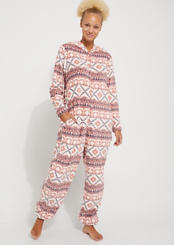 Coral Aztec Plus Hooded Onesie