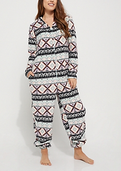 Mint Aztec Plush Hooded Onesie