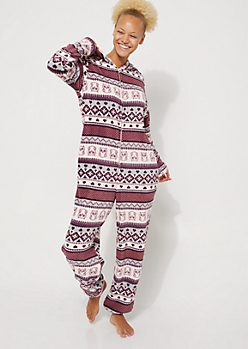 Owl Fair Isle Plush Hooded Onesie