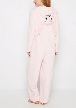 Pink Bunny Plush Onesie