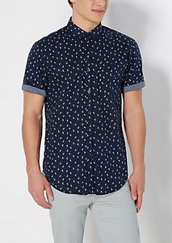 Tossed Anchor Long Length Shirt