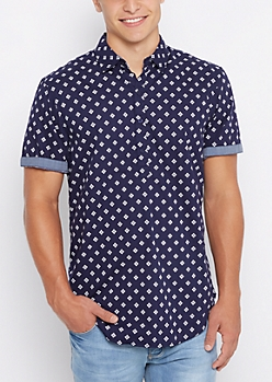 Navy Aztec Square Short Sleeve Longline Shirt