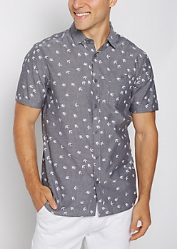Tossed Bird Chambray Short Sleeve Shirt