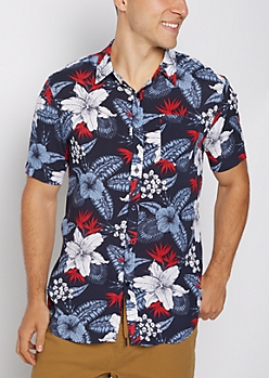 Tropical Floral Print Short Sleeve Shirt