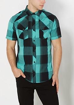 Mint Buffalo Check Short Sleeve Shirt