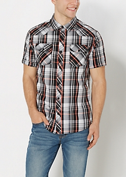 Coral Short Sleeve Button Down