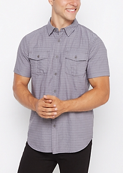 Gray Geo Woven Short Sleeve Button Down