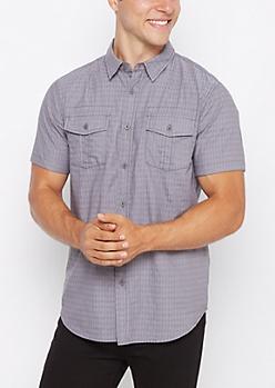 Gray Geo Woven Short Sleeve Button Down