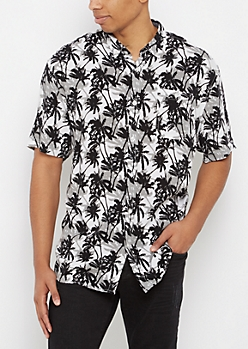 Palm Tree Soft Woven Button Down