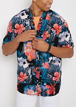 Tropical Soft Woven Button Down