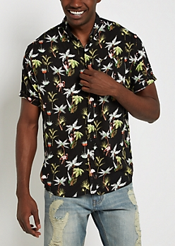 Flamingo Soft Woven Button Down