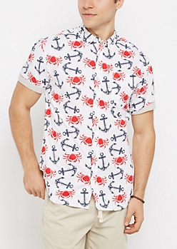 Lobster Crawl Short Sleeve Button Down