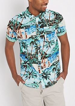 Tropical Paradise Short Sleeve Button Down