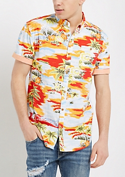 Hawaiian Sunset Short Sleeve Button Down