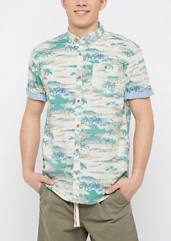 Palm Tree Short Sleeve Button Down