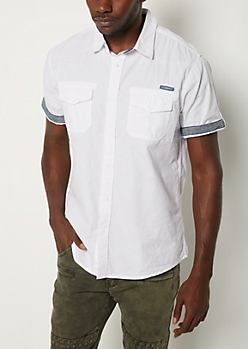 White Poplin Button Down Shirt