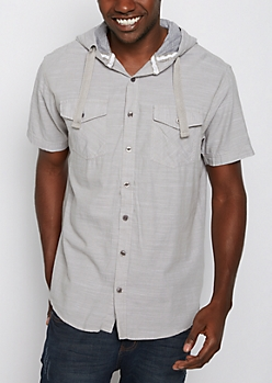 Hooded Poplin Button Down Shirt