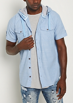 Chambray Poplin Hooded Button Down Shirt