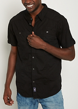 Black Poplin Button Down Shirt