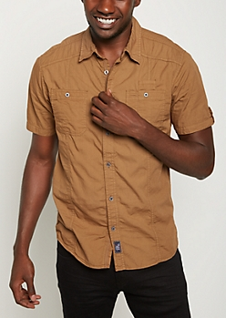 Khaki Washed Poplin Short Sleeve Shirt