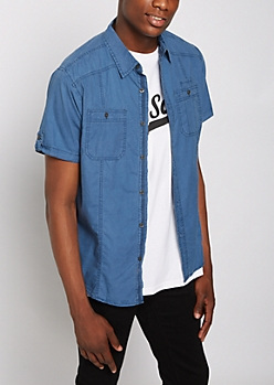 Blue Washed Poplin Short Sleeve Shirt